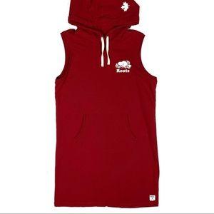 Roots Red Sleeveless Hooded Kanga Dress